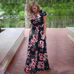Women Long Maxi Dress 2019 Summer Floral Print Boho Beach Dress Short Sleeve Evening Party Dress s 1