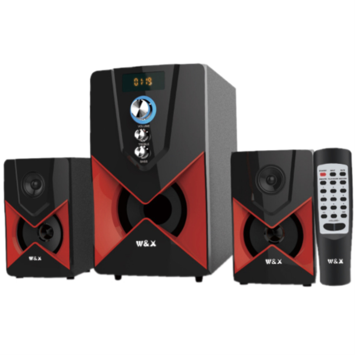 W & X  W2 MULTIMEDIA SPEAKER SYSTEM POWERFUL ENERGETIC 100% WOODEN MADE SUPER WOOFER BLACK black 29w+15w*2 W2