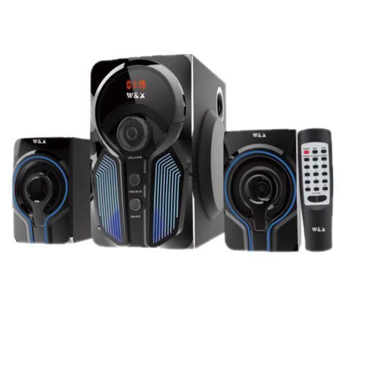 W & X  W5  MULTIMEDIA SPEAKER SYSTEM POWERFUL ENERGETIC 100% WOODEN MADE SUPER WOOFER BLACK black 29w+15w*2 W5