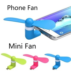 Usb mini fan for mobile phone android apple portable electric fan 2 in 1 portable picture color