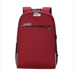 WANGKA USB Charging Laptop Backpack 15.6 inch Anti Theft Women Men School Bags red 15.6 inches