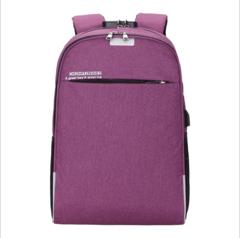 WANGKA USB Charging Laptop Backpack 15.6 inch Anti Theft Women Men School Bags purple 15.6 inches