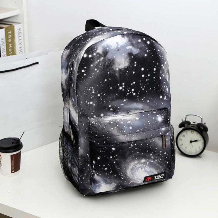 76d0982cd5cc Harajuku Style Galaxy Zipper Canvas Women Men Backpacks Printing School Bags  Teens Girls Boys Travel black