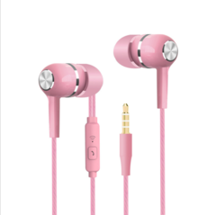 VPB S12 Sport Earphone wholesale Wired Super Bass 3.5mm Crack Colorful Headset Earbud pink