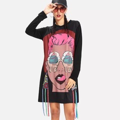 New Fashion Hot Style Ladies'Cartoon Picture Ribbon Loose Dresses s BLACK