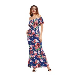 New Hot Sell Fashion Women Print Sexy Graceful Party/Beach Dresses With A Boat Neck s blue