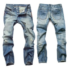 Men's Fashion High-quality Soft Cotton Straight Ripped Jeans Men Slacks Simple Mens Pants Trousers Light Blue S