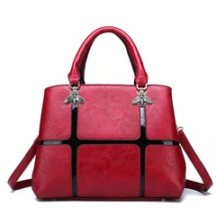 Newest Women Graceful Handbags Composite Lady Shoulder Crossbody Wallet Bag PU Leather Bags Wine red One size