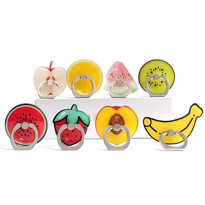 Cartoon Fruit Suitable For Universal Rotating Metal Ring Buckle Mobile Phone Flat Ring Green lemon one size