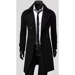 New Hot Sell Autumn Winter Men's Double -Breasted Casual Business Trench Coats Black M