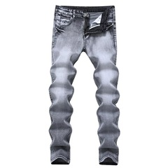 Men's Fashion High-quality Soft Cotton Straight Ripped Jeans Men Slacks Simple Men's Pants Trousers Gray s