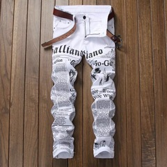 Men's Fashion High-quality Soft Cotton Straight Ripped Printing Jeans white s