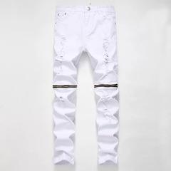 Men's Fashion High-quality Soft Cotton Straight Ripped Jeans Men Slacks Simple Men's Pants Trousers White01 s
