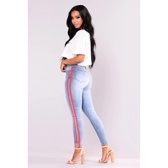 New Hot Sell Women's Jeans Stretch Ripped Jeans With High Waist light blue s