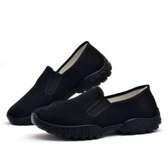 Men's Comfortable Canvas Shoes Fashion Breathable Thick Bottom Wear-resistant skidproof  Sneakers black 39