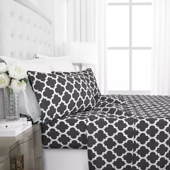 4 Pcs Bedding Sets (1 Bed cover+1 Bed sheet+2 Pillow covers) Graceful Fashion Printing Gray twin