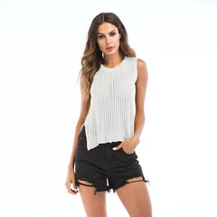 Summer Cotton Knit Hollowed-out Sleeveless Tops Vest Round Collar Sexy Thin Style white m