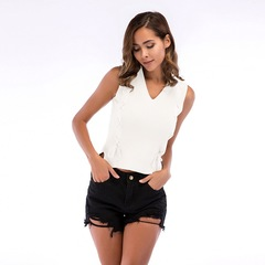 Summer Cotton Knit Hollowed-out Sleeveless Tops Vest V Collar Sexy Base Shirt white m