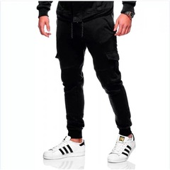 Fashion Men Trouser Sports Side Pockets Elastic Cuffed Jogger Pants Multiple Pockets Casual Pants black m