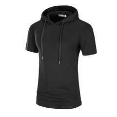 High Quality  Men's T-shirt Hooded Tunic Comfortable Casual Outdoor T-shirt Black M polyester