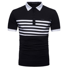 Fashion High Quality  Men's T-shirt Round Collar Office Business Gentleman Casual Polos black m polyester