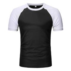 New Fashion Men's T-shirt Raglan Short Sleeve Casual Assorted Colors T-shirt black m Polyester