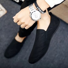 Men's fashion Loafers Slip-Ons Casual Peas Shoes Breathable and Comfortable Lazy Shoes Driving Shoes black 39