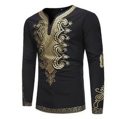 New African Style Printing Men's Long Sleeve Gentlemen Wedding V Collar T-shirt black m