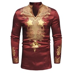 Fashion African Style Printing Men's Long Sleeve Gentlemen Party Stand-up Collar T-shirt red m