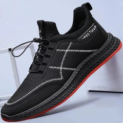 New Sports Running Shoes and Leisure Men's Shoes Lightweight Breathable Non-slip Tide Mesh Sneakers black01 43