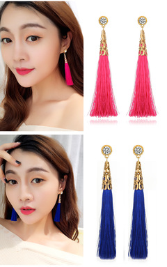 New Fashionable Personality Long Tasseled Earrings and Earstuds Blue 8.5 cm