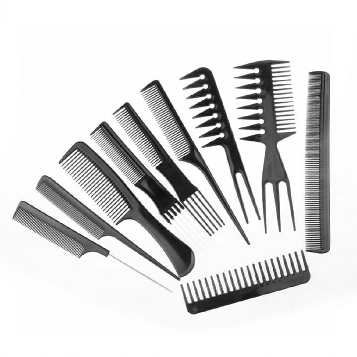 10pcs Set Comb Hair Comb Women Wigs Salon Styling Tools Anti Static Comb Black One color