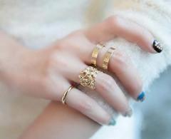 Women New Fashion Leaf Three Piece Ring Set golden 1.78cm