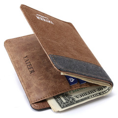 New Men Fashion and Leisure Creative Short Wallet Brown and Gray one size