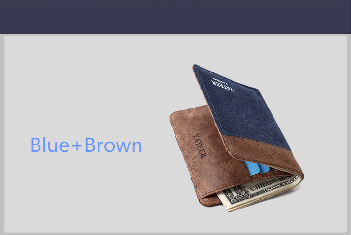 New Men Fashion and Leisure Creative Short Wallet Blue and Brown one size