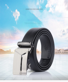 New Men Business Fashion and Leisure Men Automatic Buckle Belt Black one size
