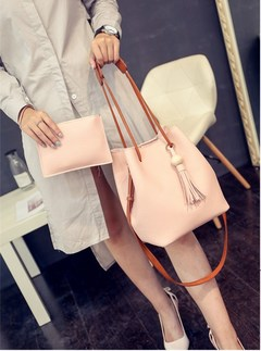 New Two-Piece Stylish Tassel Bag With One Shoulder Crossover Bag pink one size