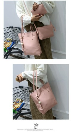 The New Three-piece Women Single-shoulder Slanted Straddle Bag With Child And Mother Bags pink one size