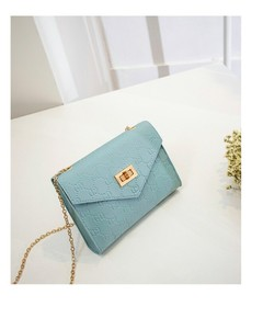 Chain small square bag 2019 new mini lady small bag inclined cross single shoulder mobile phone bags blue one size