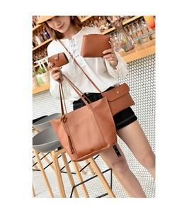 New Women Bag Fashion Tassel Handbag Cross Shoulder Bag Set Of Four brown one size
