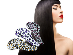 Fashion Anti-static Hairdressing Leopard Print Massage Comb for Ladies Purple One Size