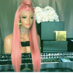Pink Wig Lace Front Long Straight Systhetic Hair Women Middle Part Full Wigs Pink 24 inch