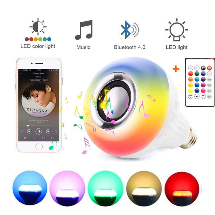 E27 Bluetooth Music Lamp Smart RGB RGBW Wireless Speaker Bulb 220V 12W LED Light Player White 12W With 24 Keys