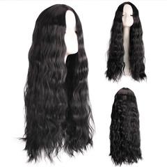 Fashion Wig Lady Long Roll Hair Wig Long Curly Wig Headgear black long