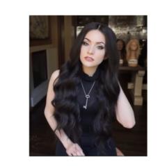 Hot selling high temperature silk wigs lady black long wavy hair black long