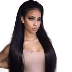 High temperature silk female wig long straight women hair wig head cover black long