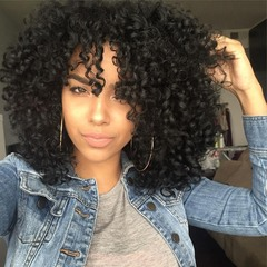 Women's Curly Wigs Hair African Fashion Synthetic Wigs Hair black long