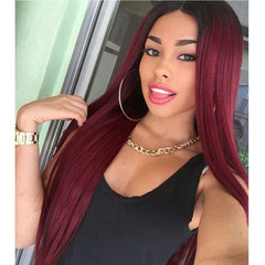 Women's Long Straight Wig African Colour Gradual Change Fiber Hair Wig wine red long