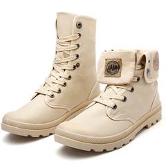 Limit promotion crazy buy large size men's Martin boots canvas high-top casual shoes Khaki 40