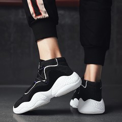 2019 crazy promotion new men's fashionable breathable sports leisure running shoes black 39